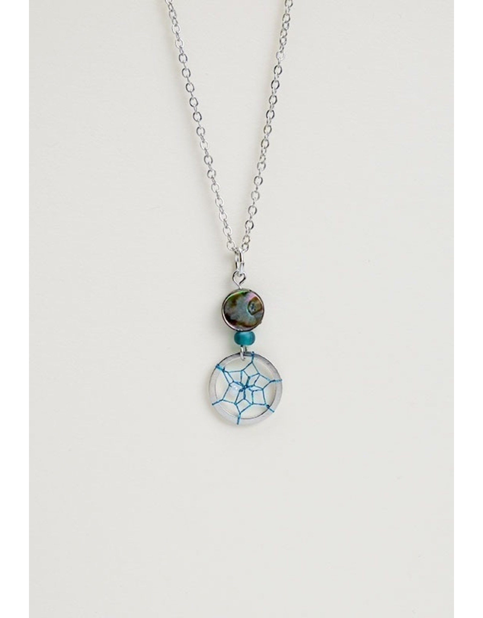 Paua Shell and Dream Catcher Necklace  - DC1416-P