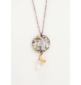 Birchbark Necklace with Quartz