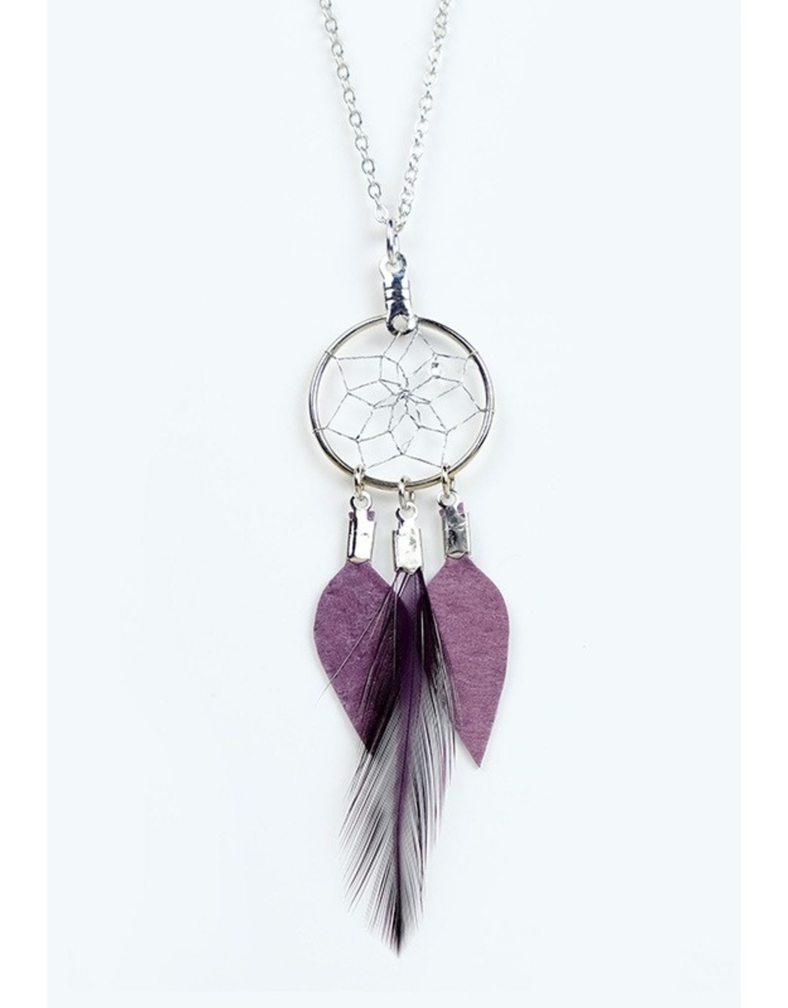 Dreamcatcher Feather and Leather Necklace - DC1010-P