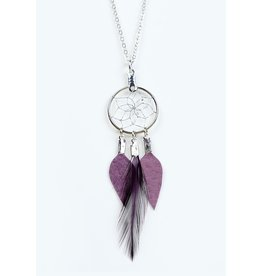 Dreamcatcher Feather and Leather Necklace