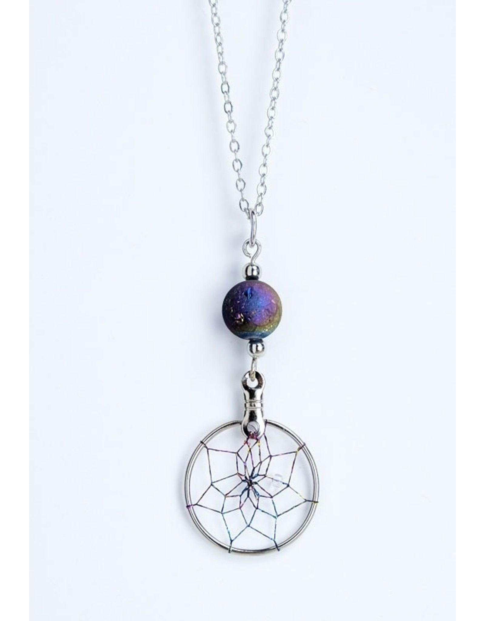 Dreamcatcher Necklace with Rainbow Druzy - DC1007
