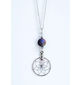 Dreamcatcher Necklace with Rainbow Druzy