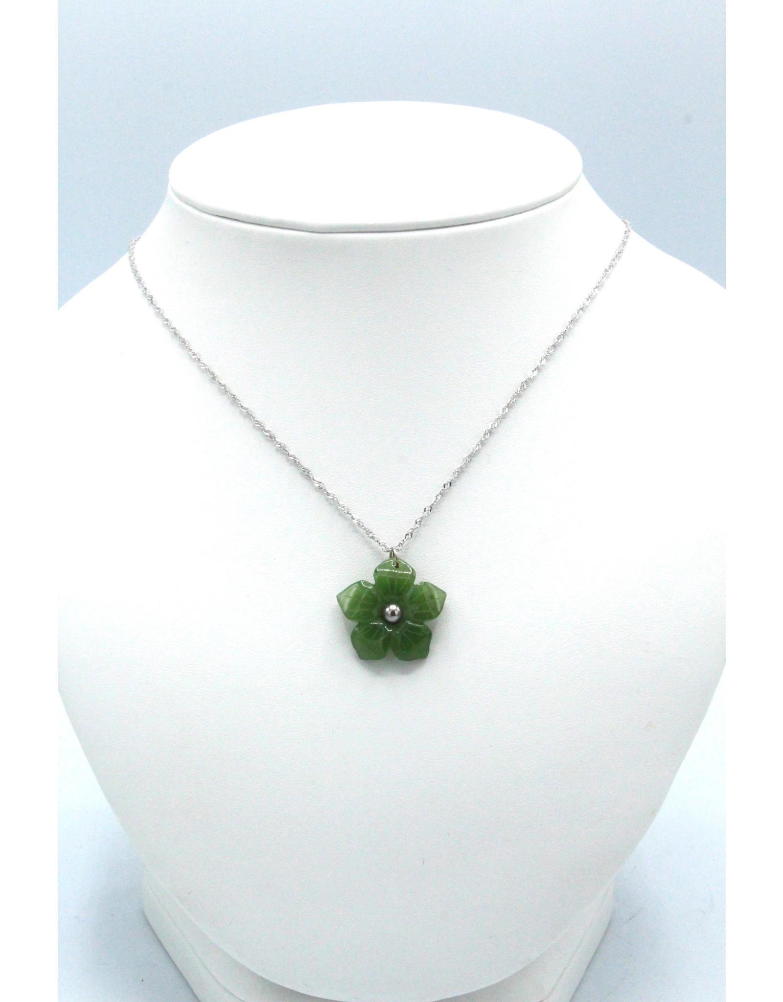 Jade Flower Necklace - JPS111