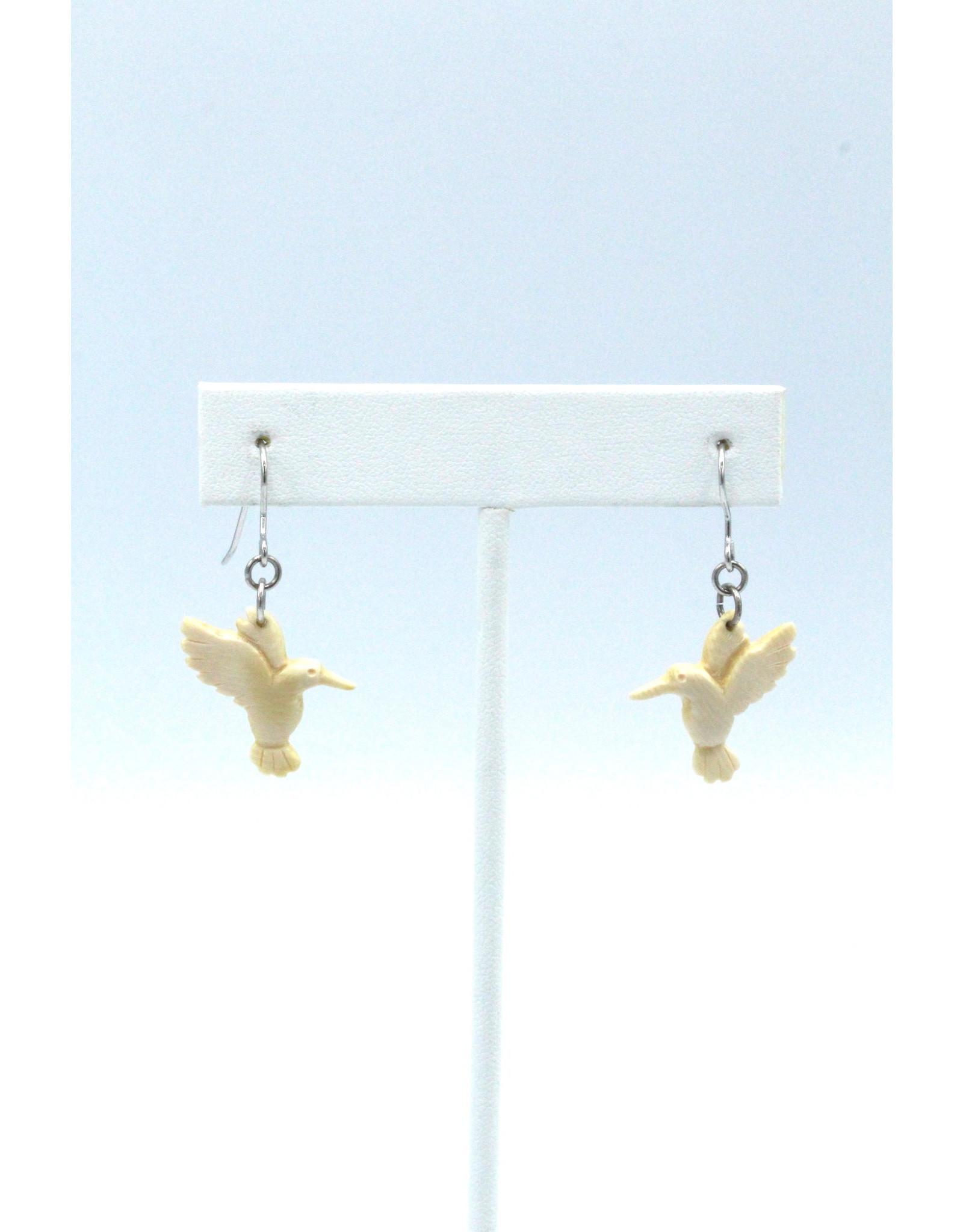 Mammoth Ivory Hummingbird Earrings - MDS67
