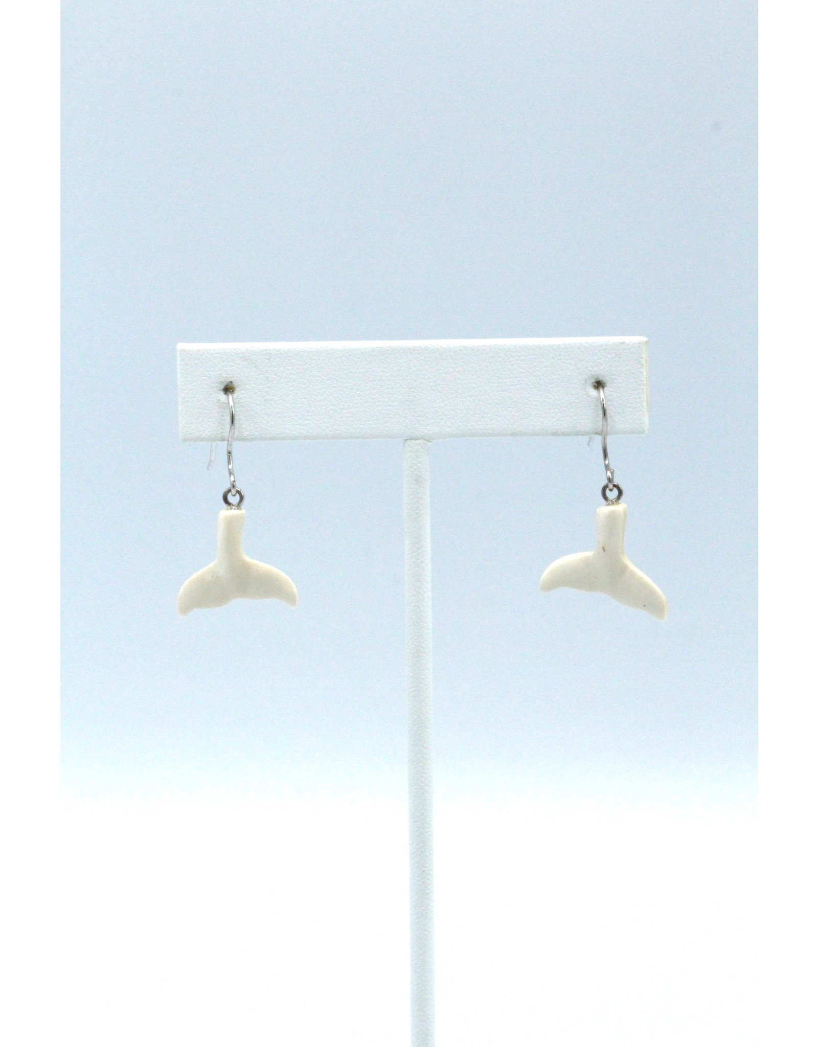 Fossilized Mammoth Ivory Whale Tail Earrings - MDS38