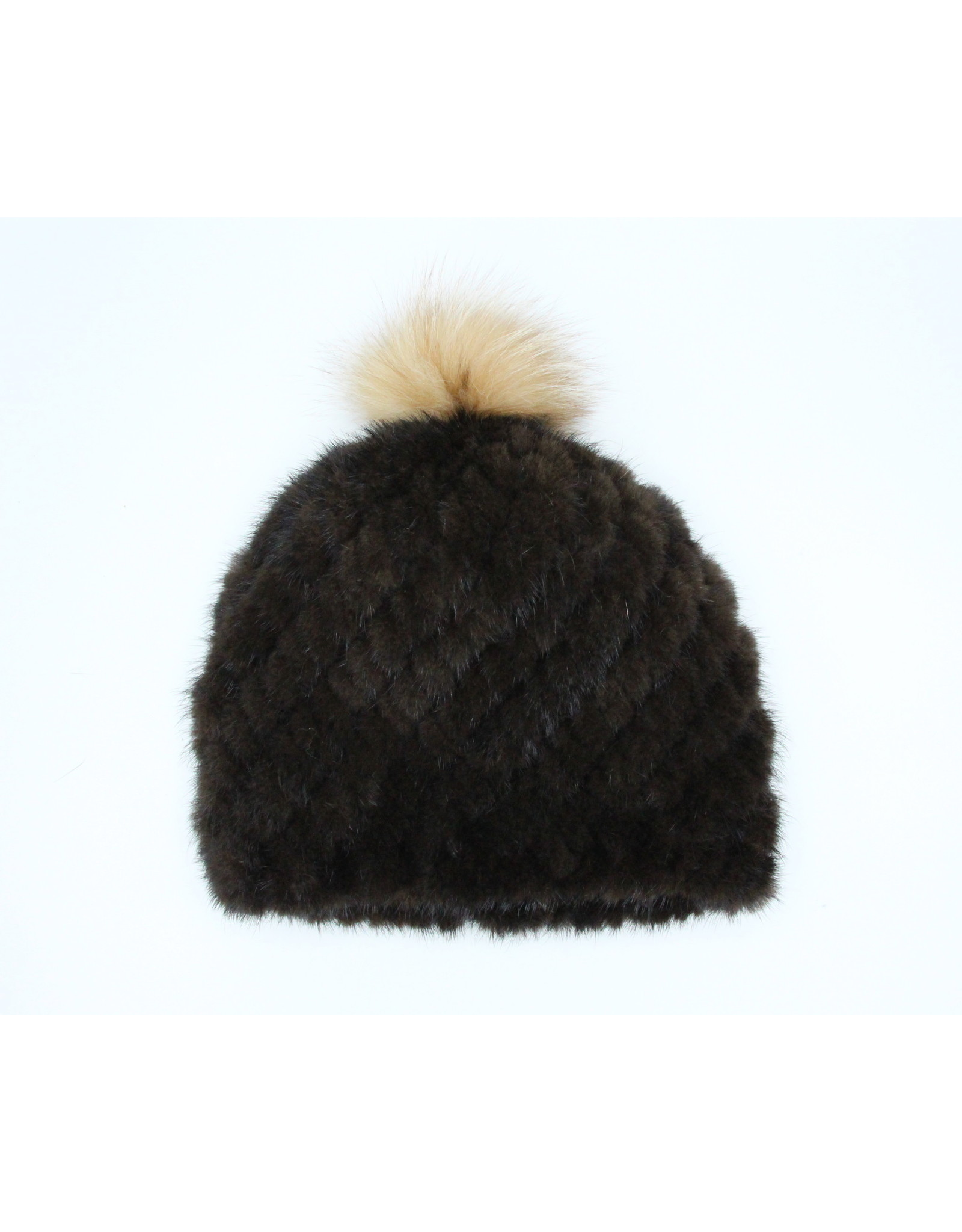 Knitted Mink Hat with Fox Pompom