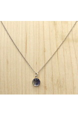 Quebec Blue Flag Iris Silver Necklace - QC0108S