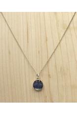 Quebec Blue Flag Iris Silver Necklace 10mm - QC0110S