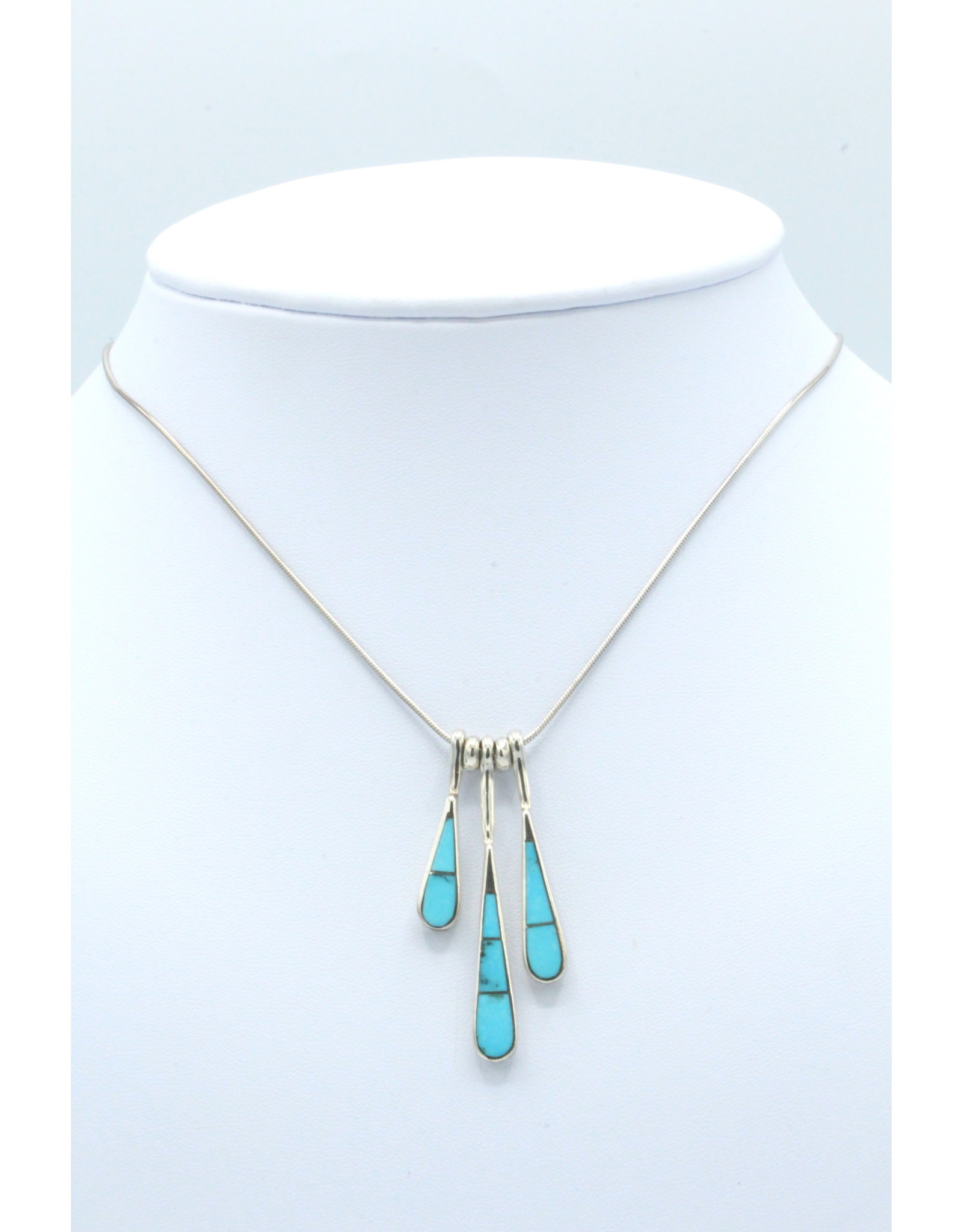 3 Tear Necklace Turquoise - N108-61