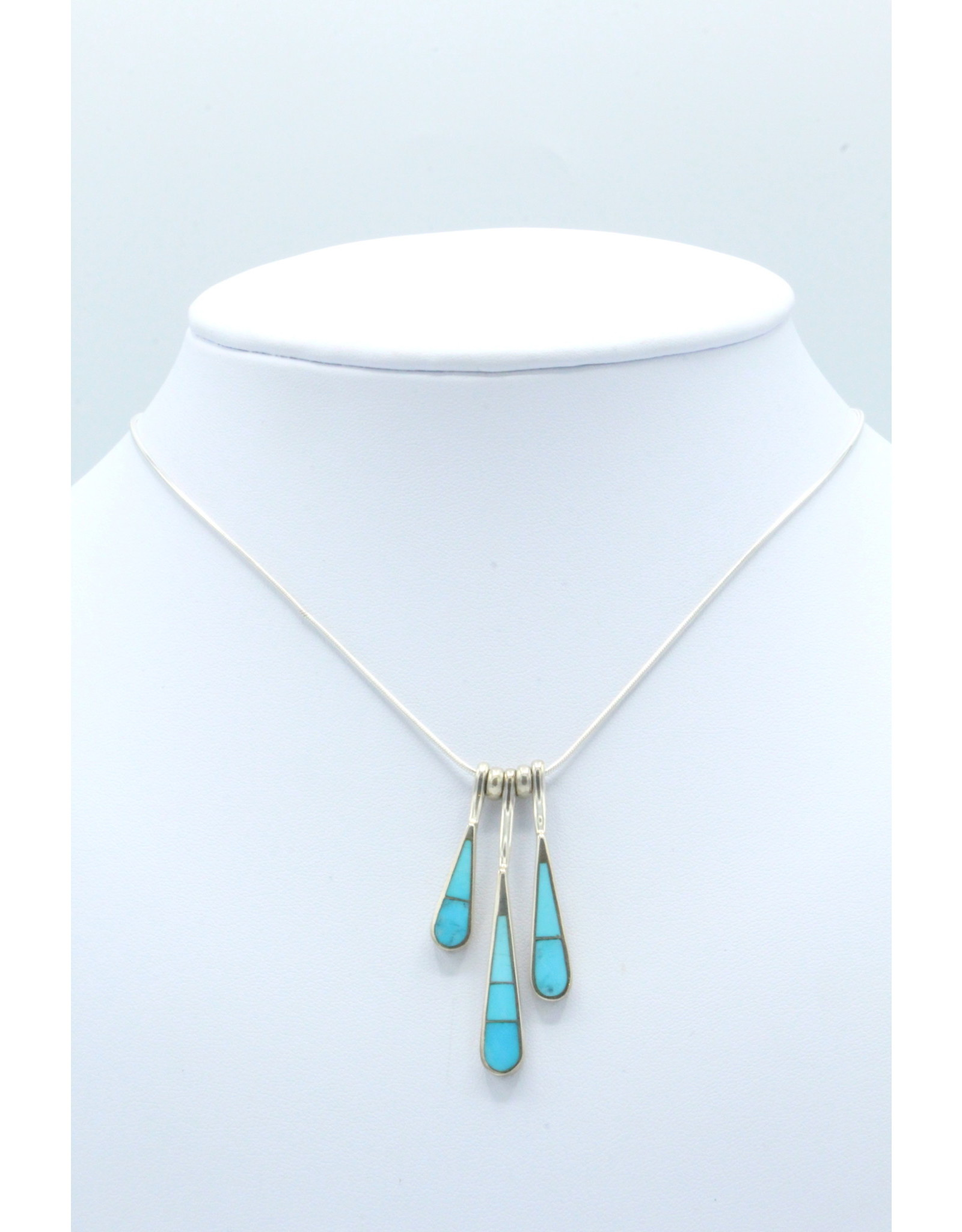 3 Tear Necklace Turquoise - N108-62