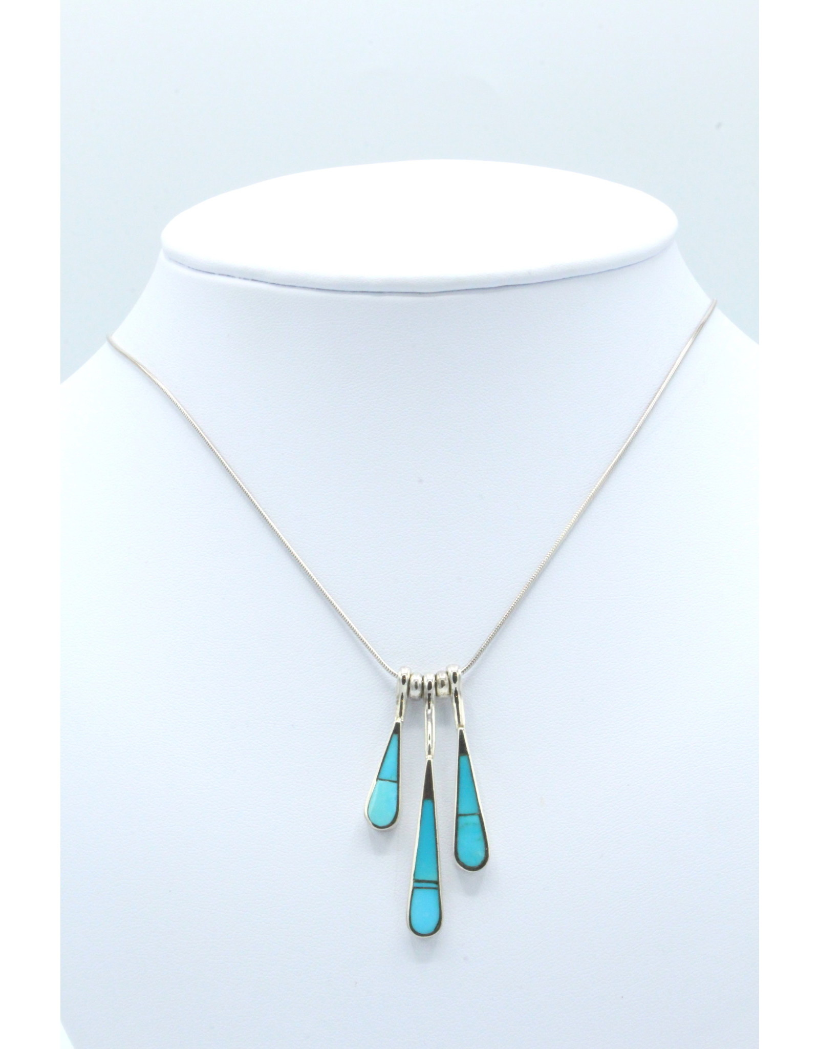 3 Tear Necklace Turquoise - N108-6
