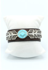 Leather and Turquoise Cuff - BR719