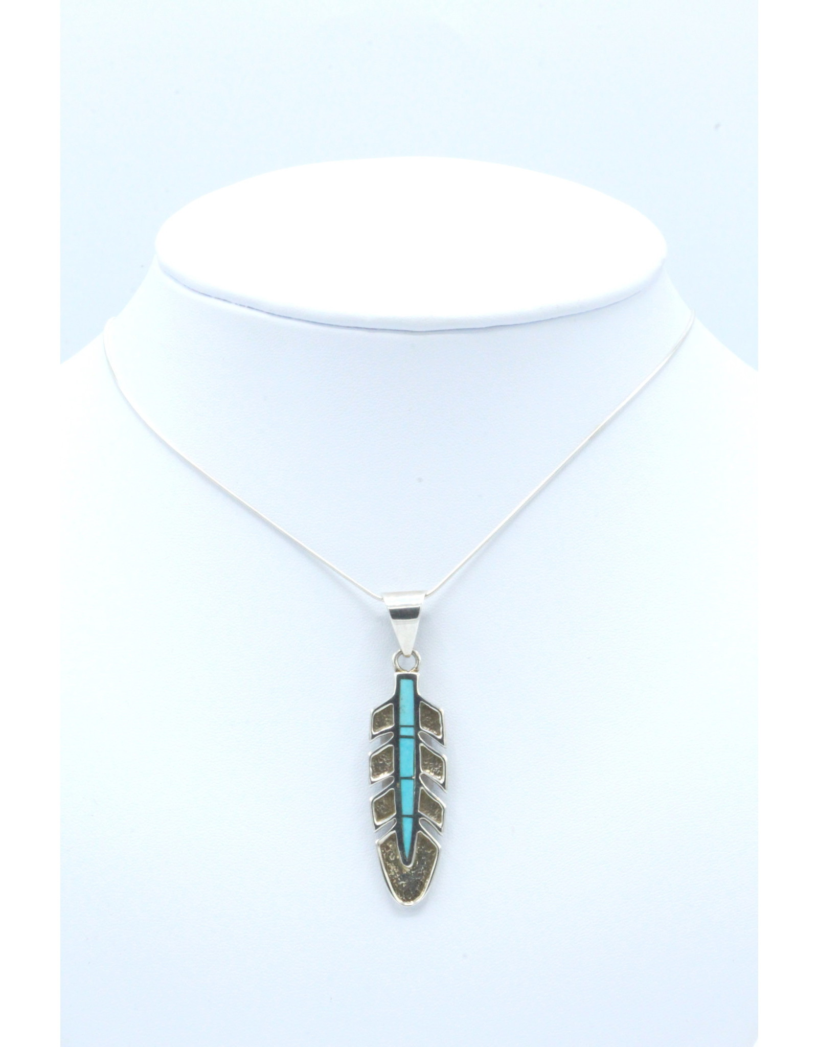 Large Feather Turquoise Pendant - P3018