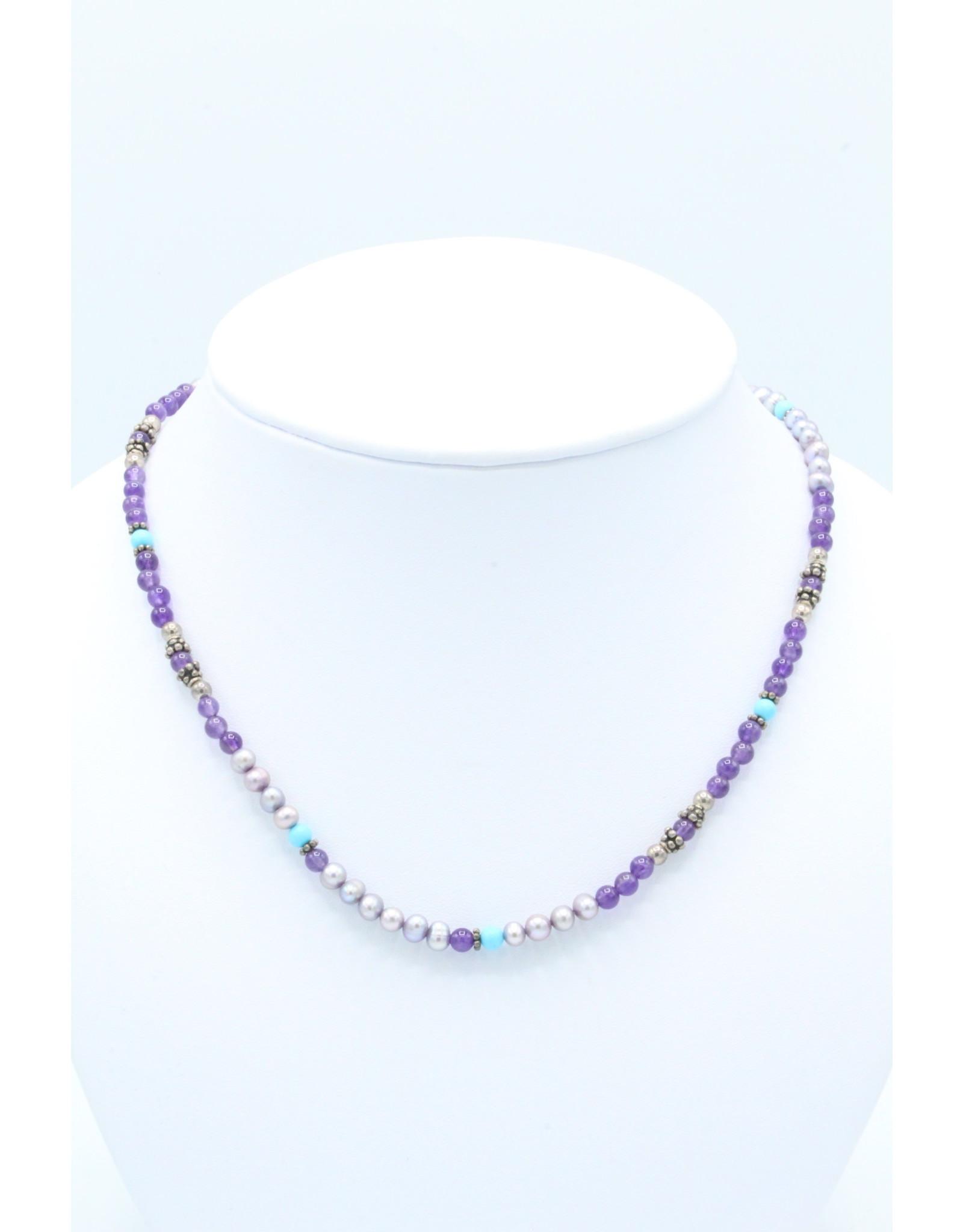 Beaded Necklace Purple - BNP1