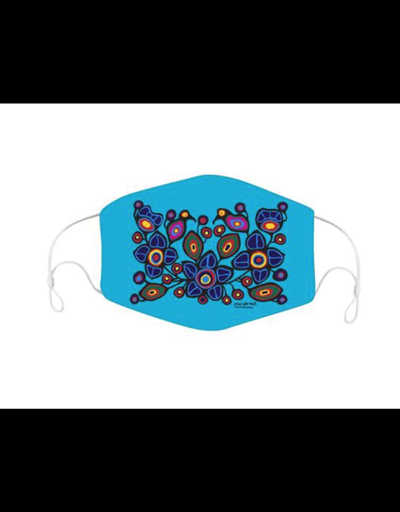 Reusable Face Mask Flowers & Birds by Norval Morrisseau
