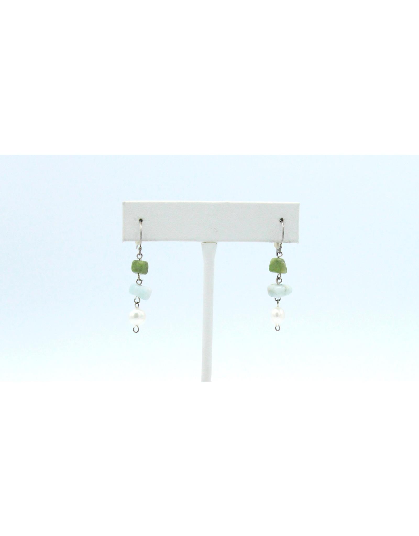 Gaspeite, Aquamarine and Pearl Earrings - EGAP01