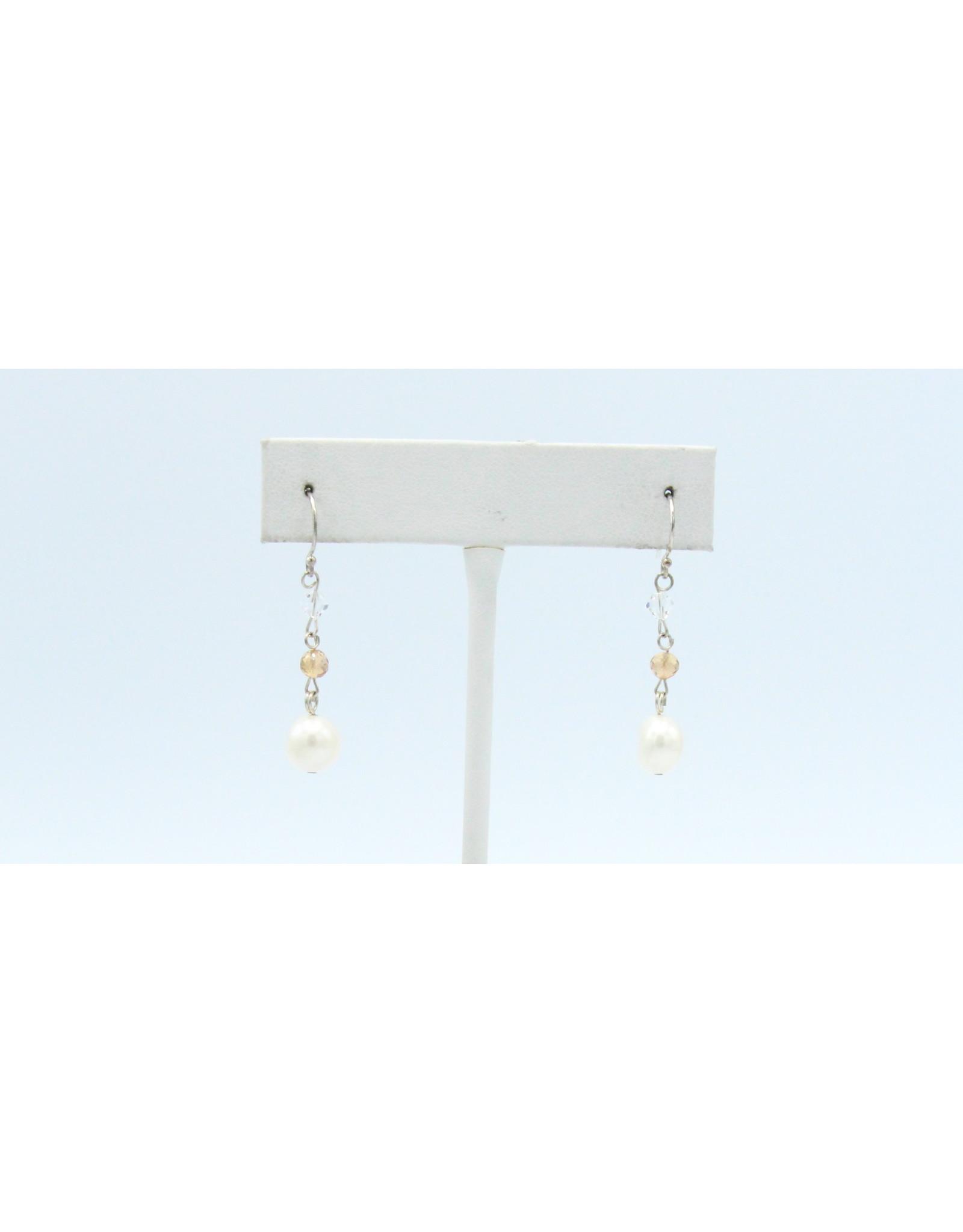 Grenat Hessonite Earrings with Pearl - ERGH04