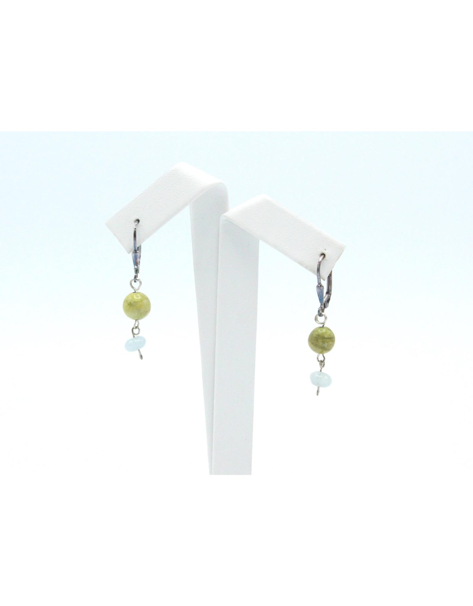 Gaspeite and Aqua Marine Earrings - EGAQ1