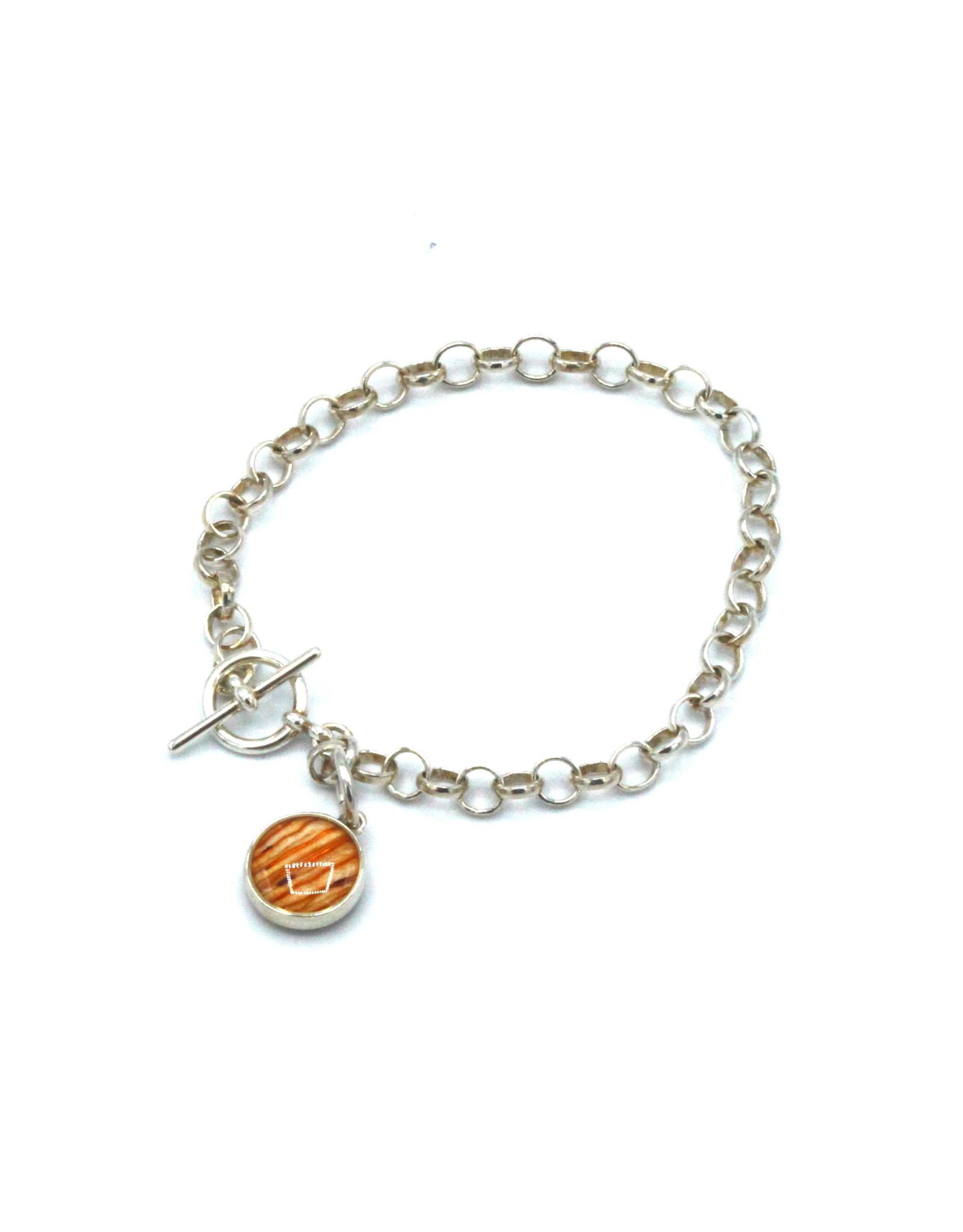Saskatchewan Tiger Lily Toggle Silver Bracelet - SK02T
