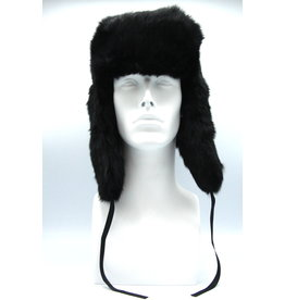 Rabbit Trooper Hat Black Flat