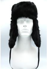 Rabbit Trooper Hat Black Rounded