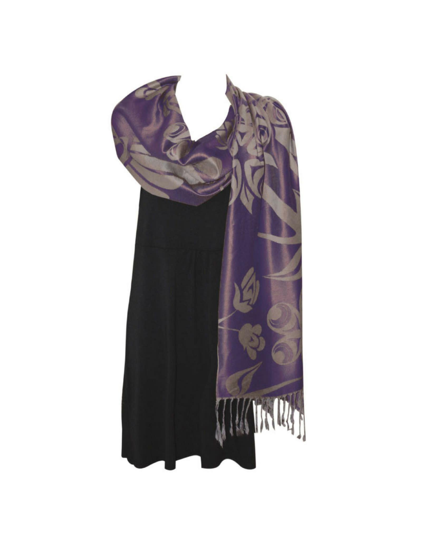 Sacred Shawl Purple 'Blossoms & Hummingbird'