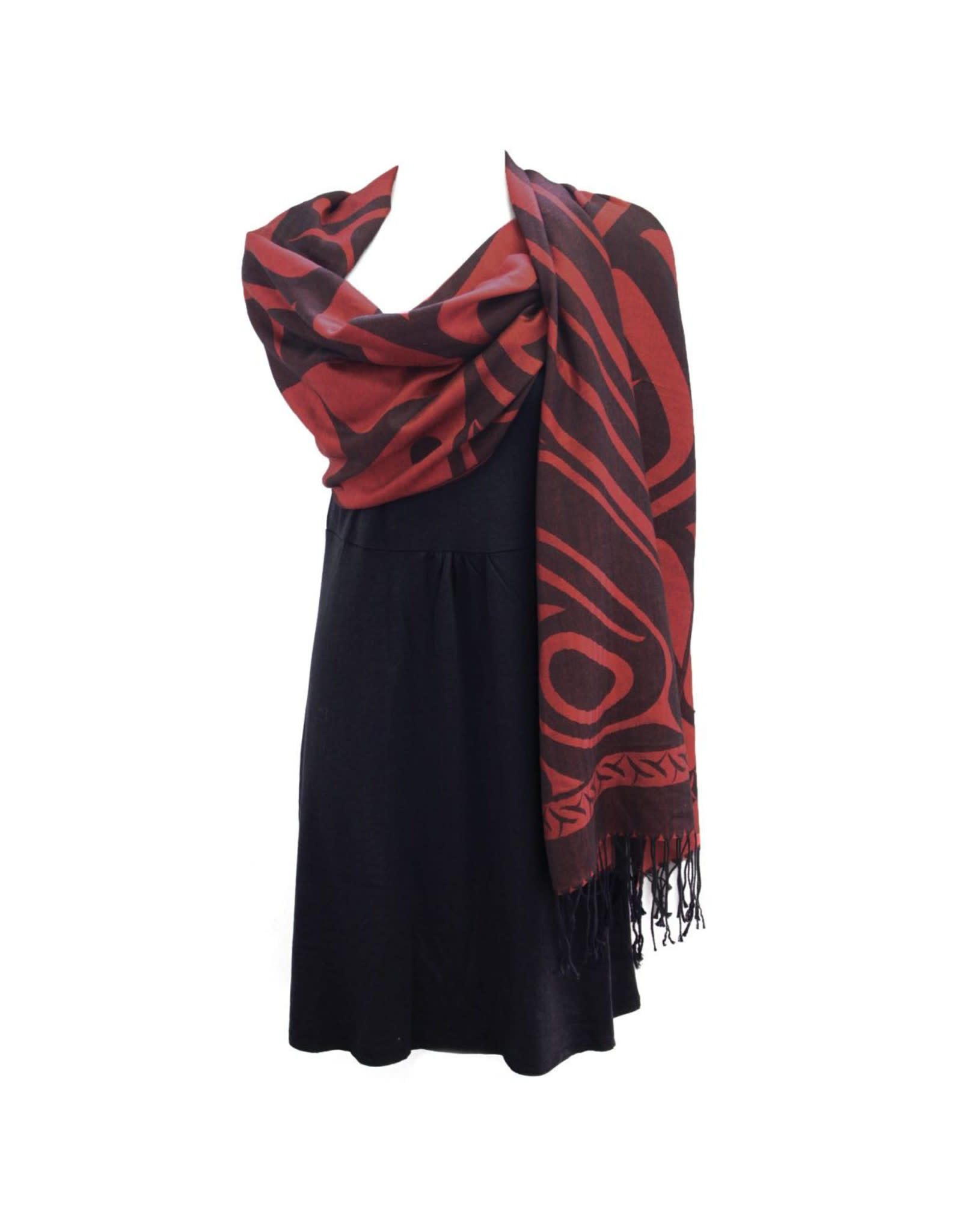 Shawl Red 'Whale Journey'