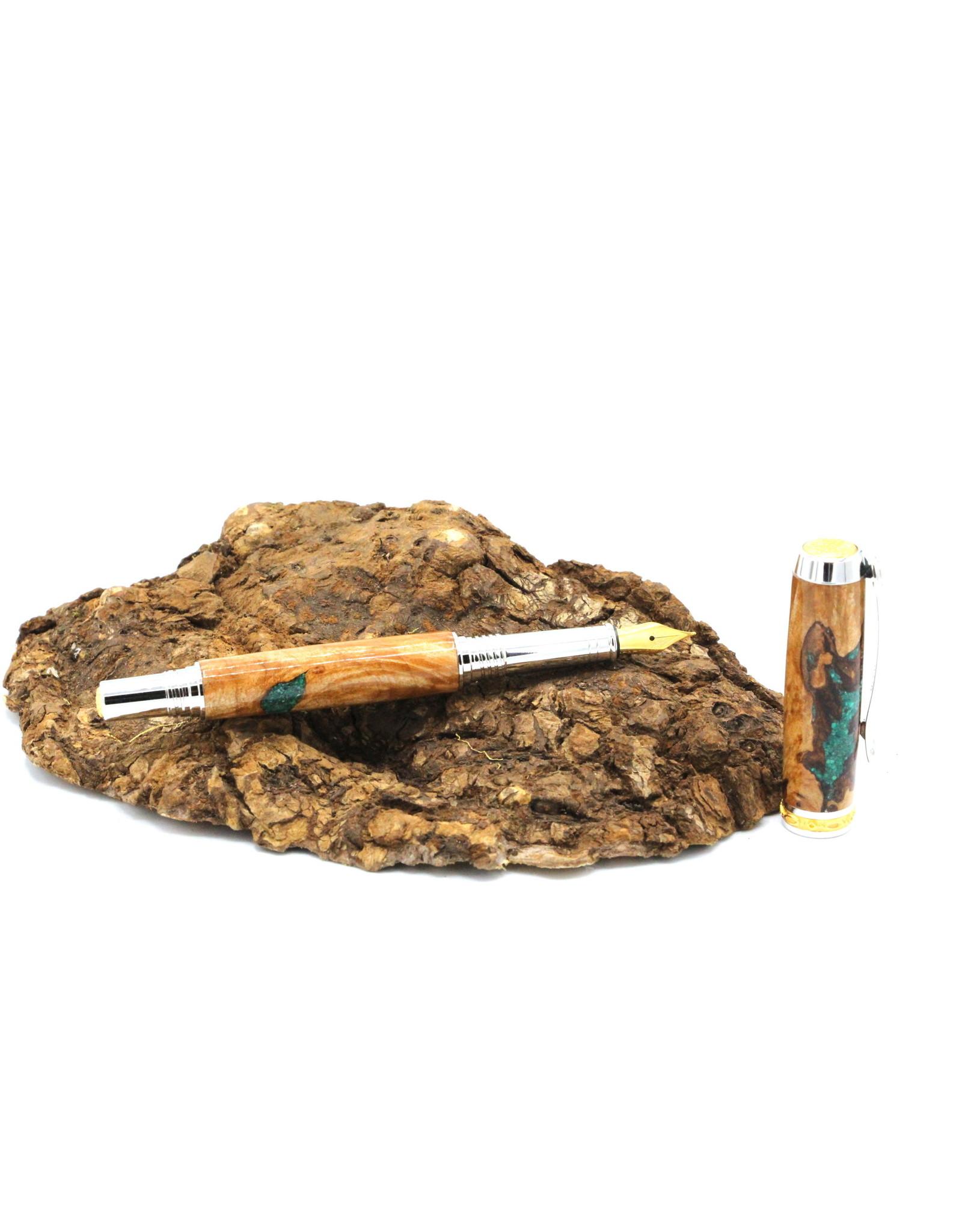 Maple Fountain Pen - Berezia Malachite Gold
