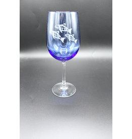 Blue Wine Glass - Salmon
