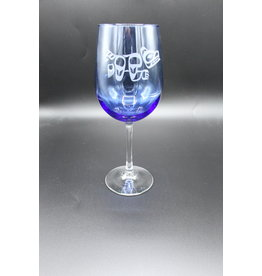 Blue Wine Glass - Bear