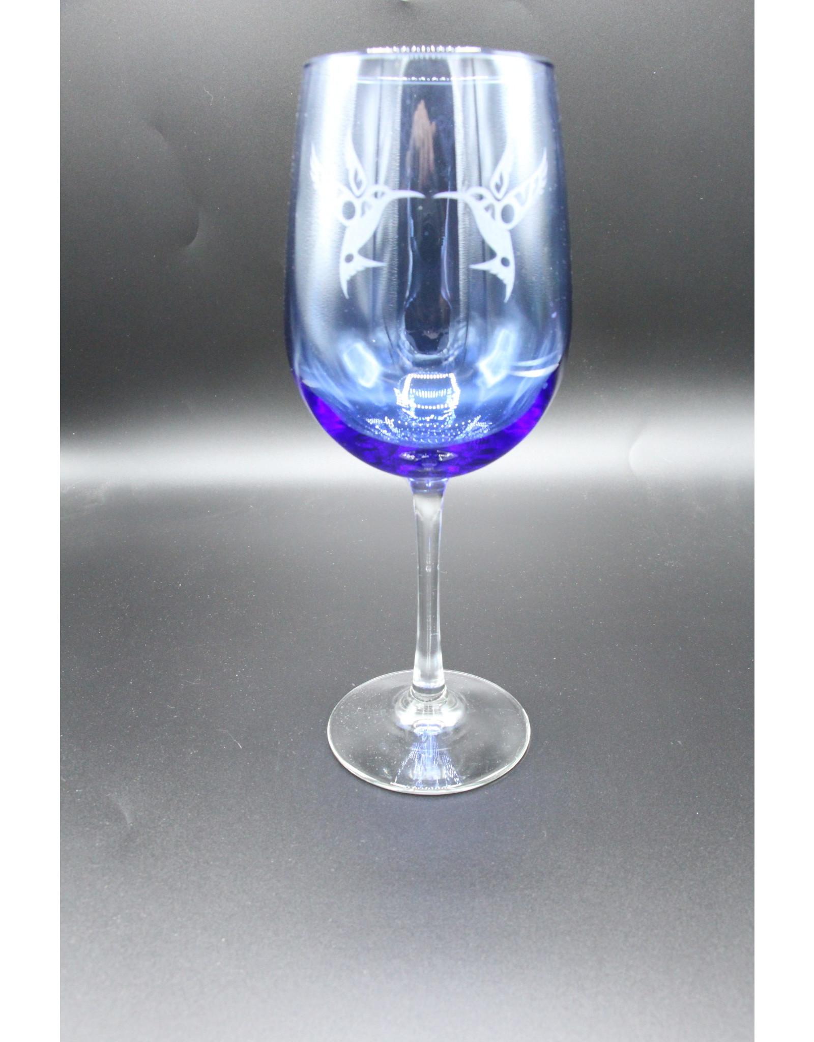 Blue Wine Glass - Hummingbird