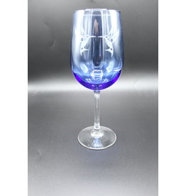 Blue Wine Glass - Hummingbird