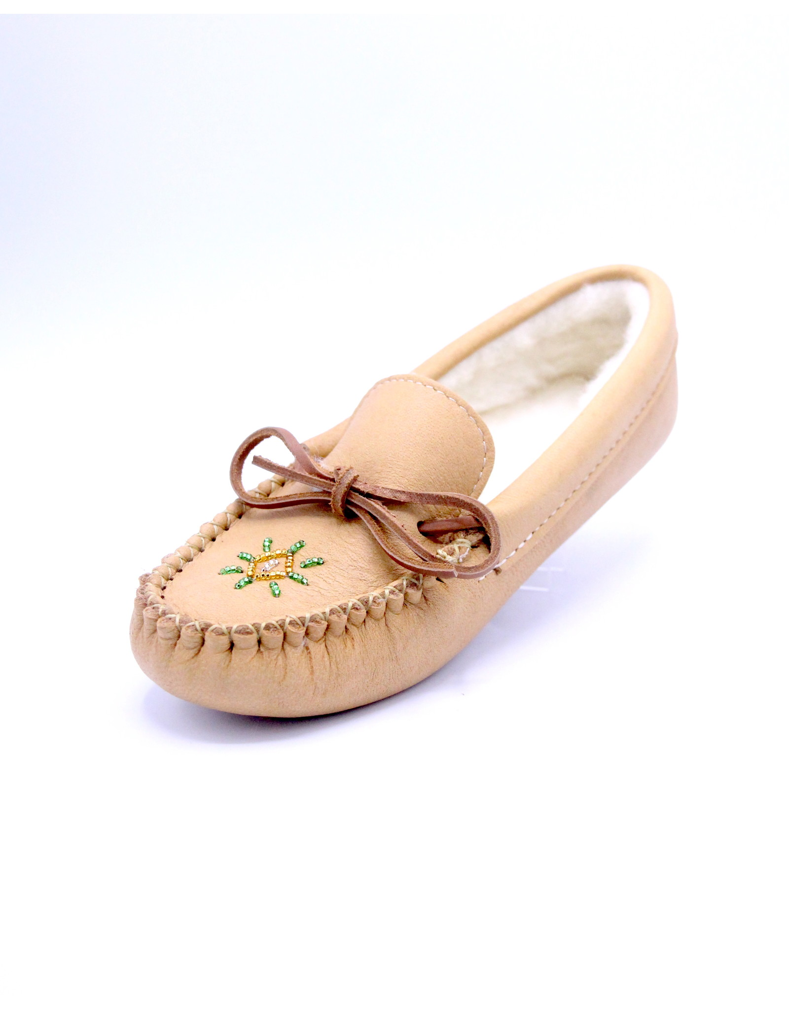 Ladies Lined and Beaded Moccasin Slippers - Brown