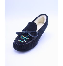 Ladies Moccasin Slippers Lined and Beaded - Black