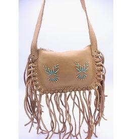 Fringe Leather Purse - Light Brown