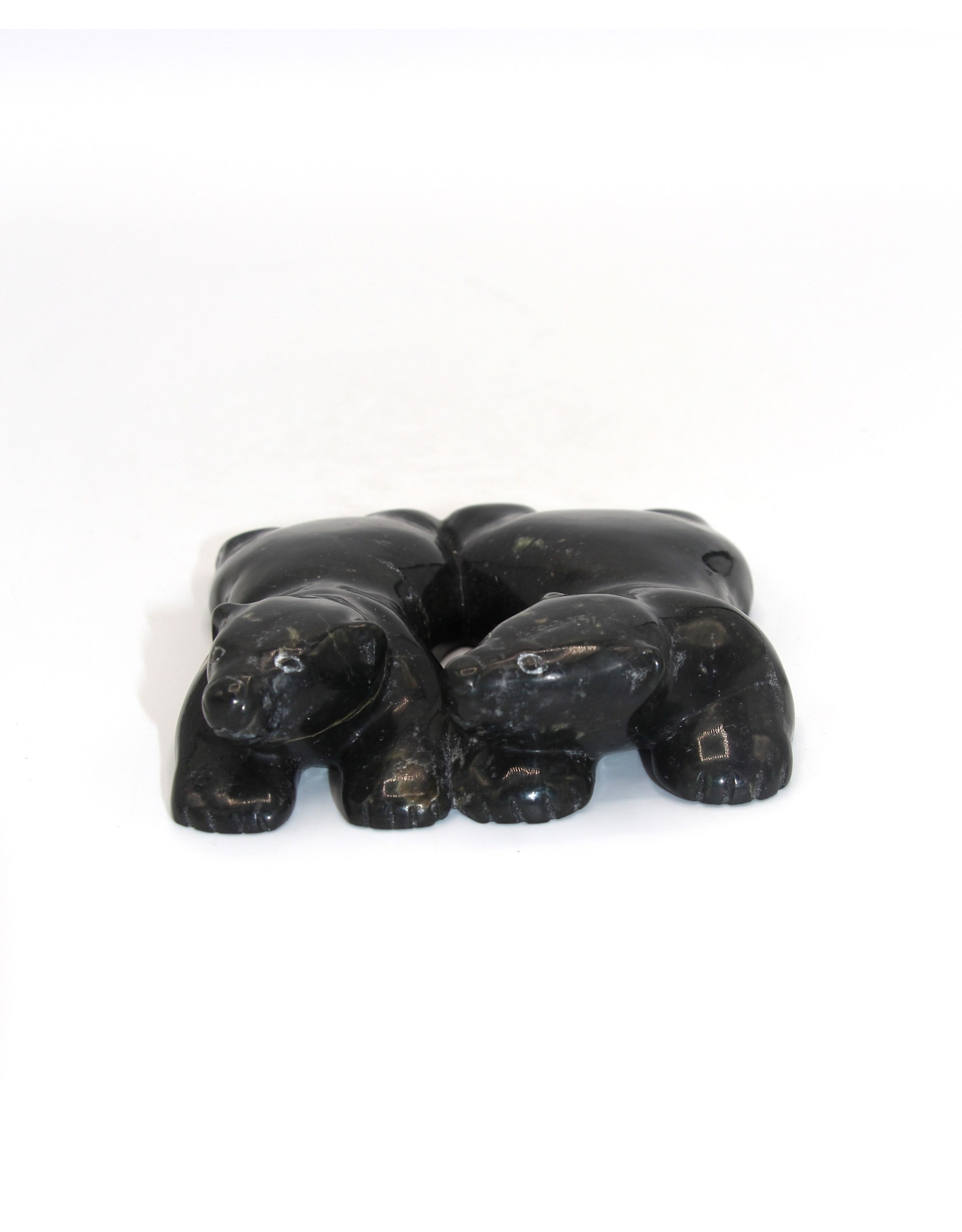 18673 Two Lying Bears by Markoosie Papigatuk