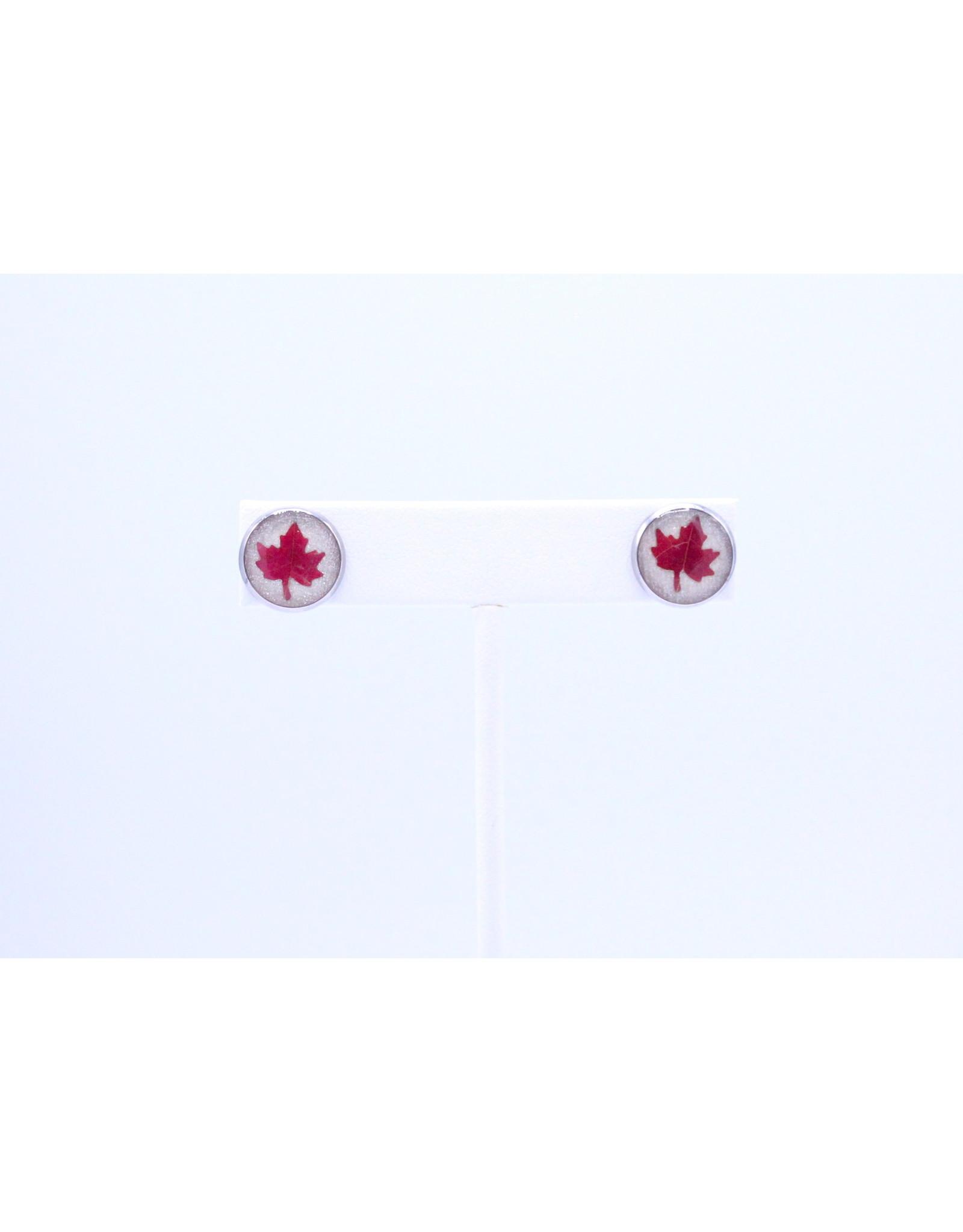12mm Stud Maple Leaf Earrings White - J12SMLW1
