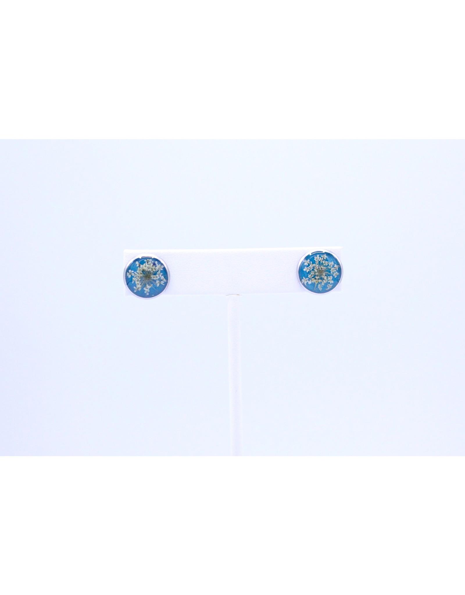 12mm Stud Queen Anne's Lace Earrings Blue - J12SQALB1
