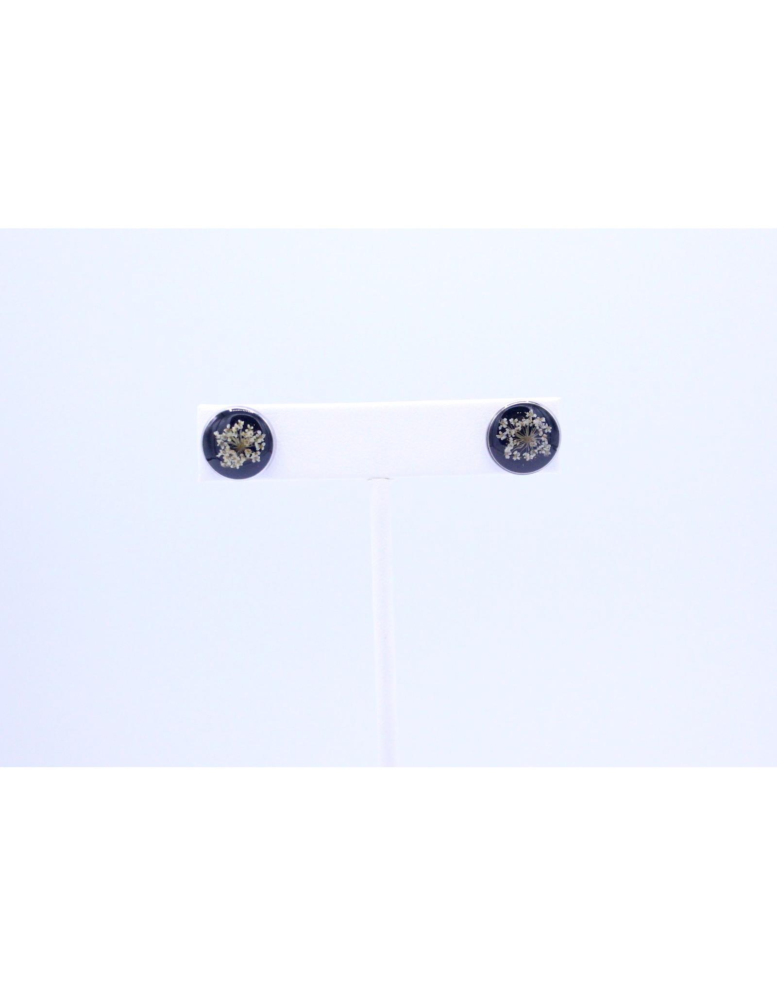 12mm Stud Queen Anne's Lace Earrings Black - J12SQALBK1