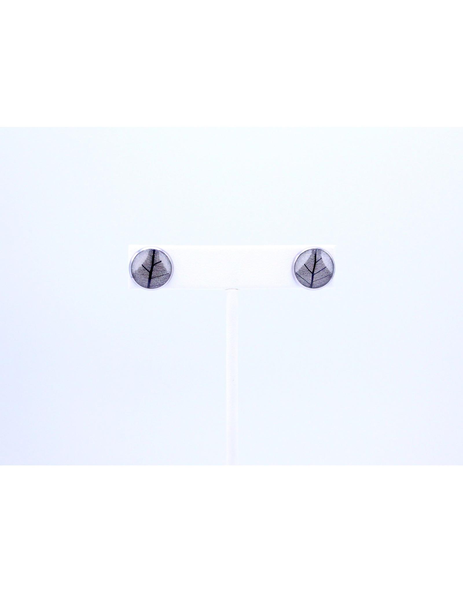 12mm Stud Skeletized Leaf Earrings  - J12SSLS1