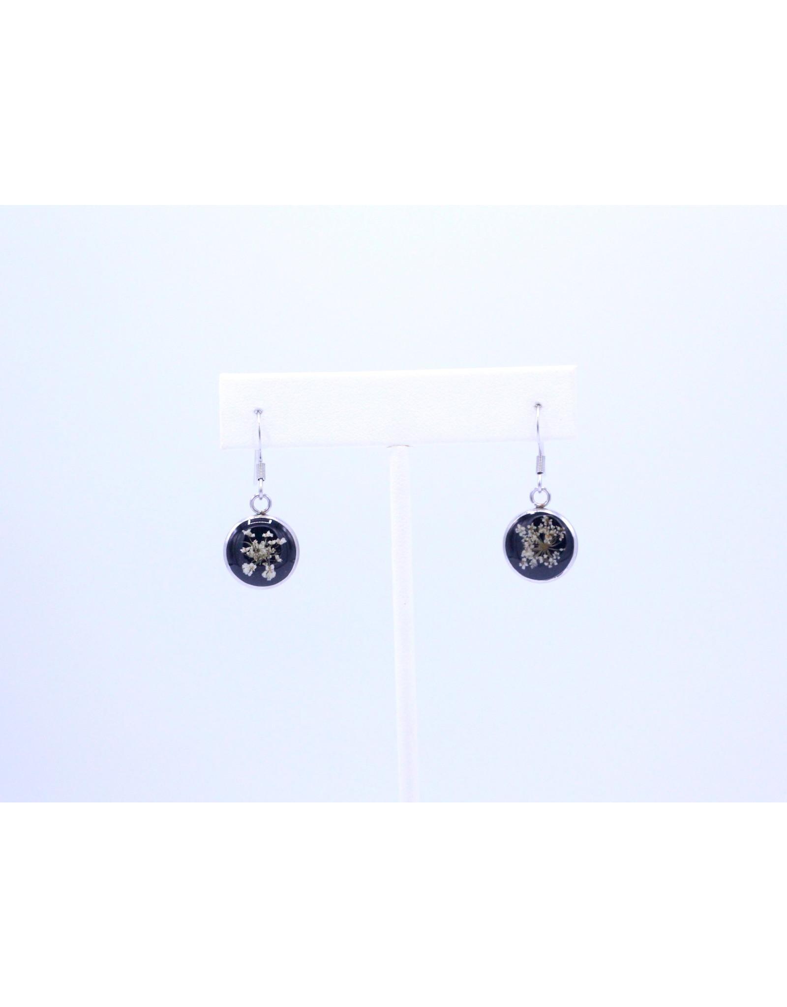 12mm Drop Queen Anne's Lace Earrings Black - J12DQALBK2