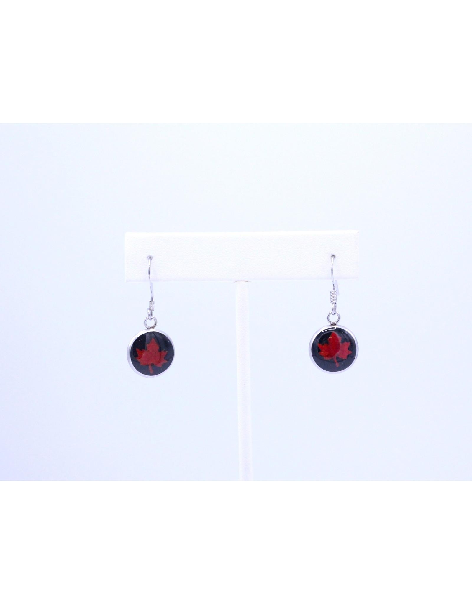12mm Drop Maple Leaf Earrings Black - J12DMLB2