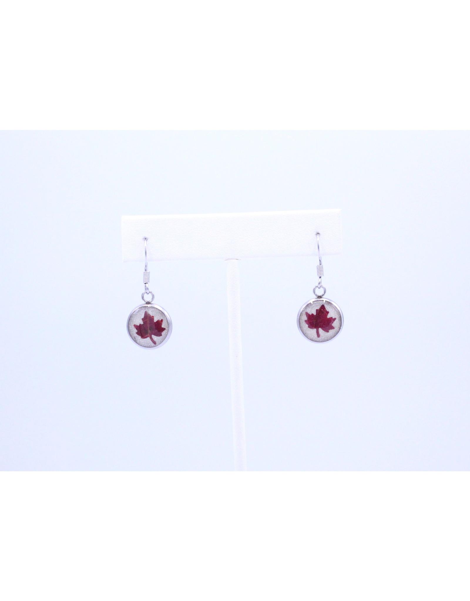 12mm Drop Maple Leaf Earrings White - J12DMLW2