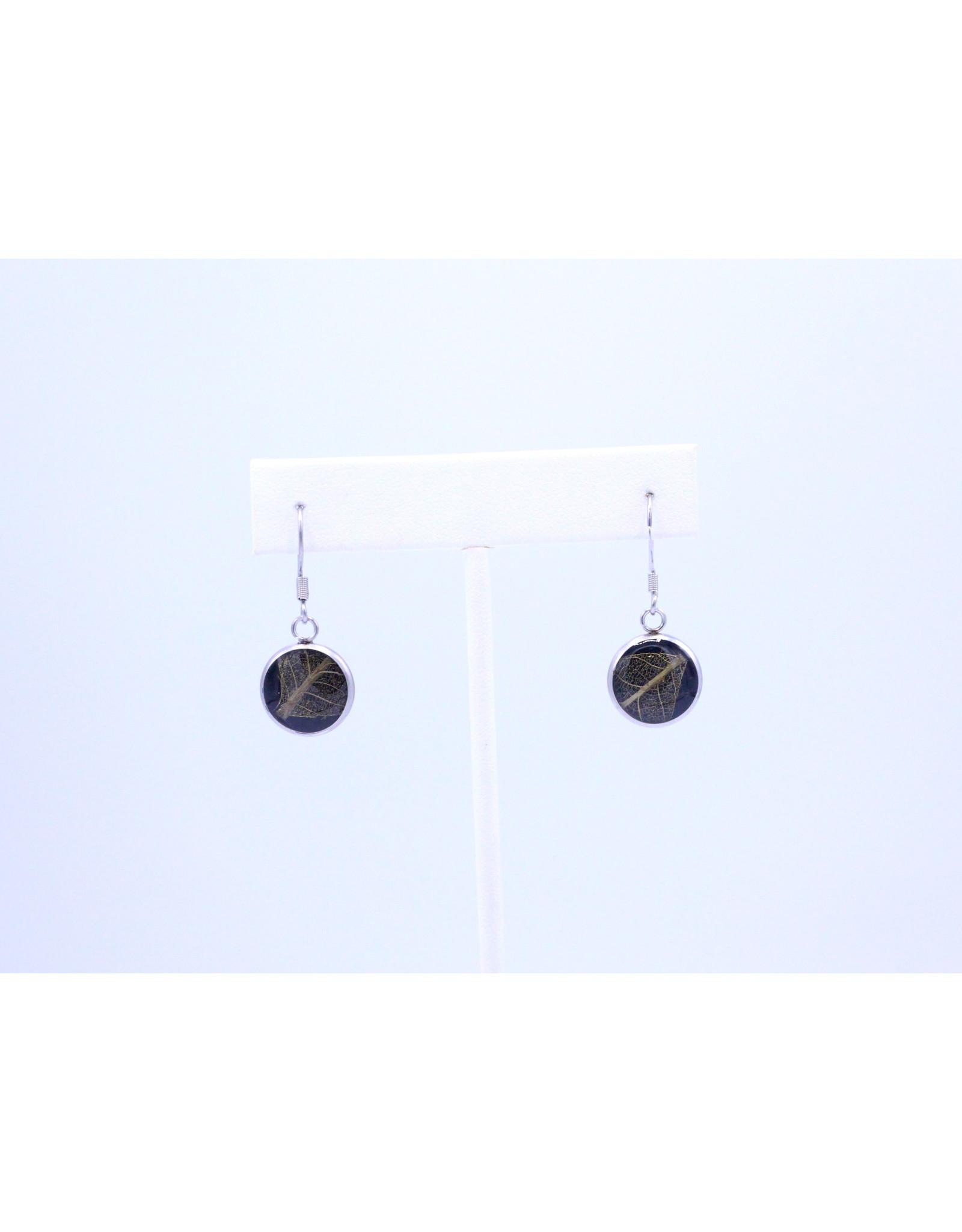 12mm Drop Skeletized Leaf Earrings - J12DSLS1