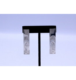 Raven Rectangle Earrings on Posts by Nusmata