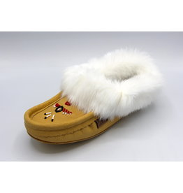 Ladies Leather Moccasin Slipper with Fur