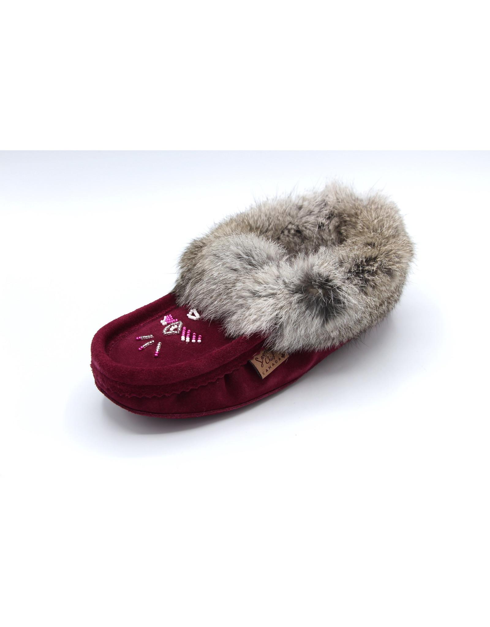 Ladies Bordeaux Suede Fur Moccasin Slipper 600BOL