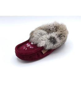 Ladies Bordeaux Suede Fur Moccasin Slipper