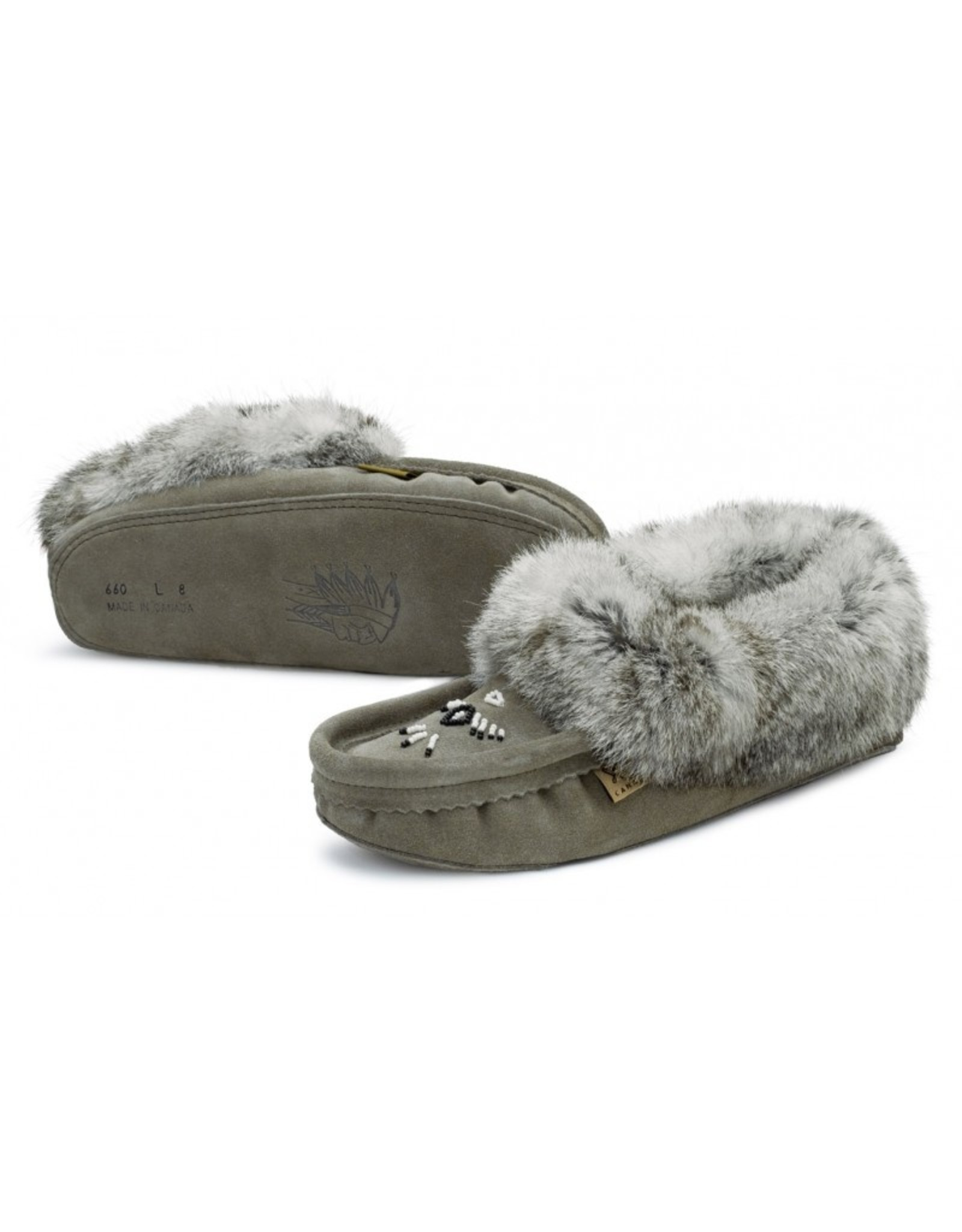 Charcoal Suede Fur Slipper Moccasin - 660L