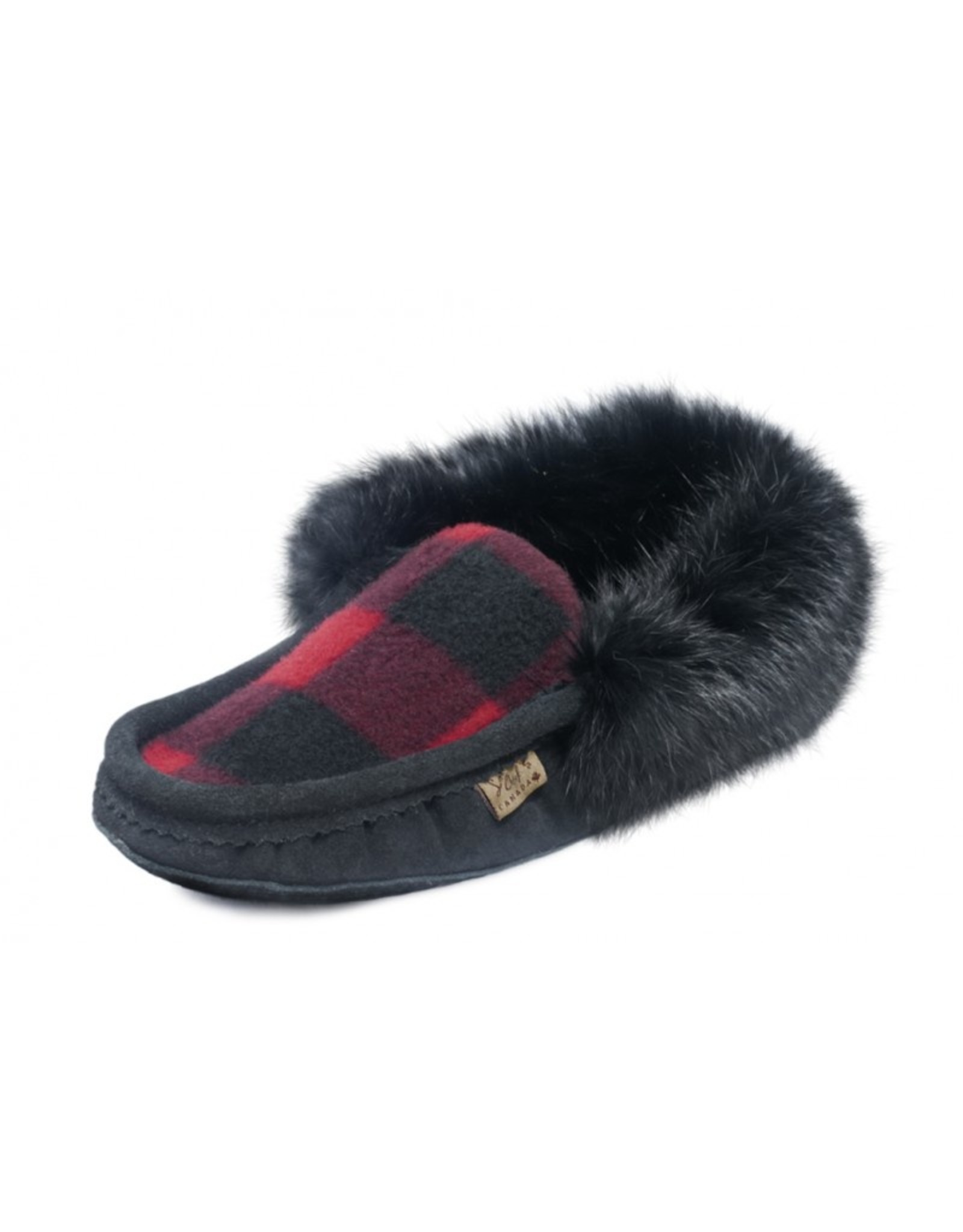 Mens Black & Red Flannel Slipper with Fur  - 604BLM